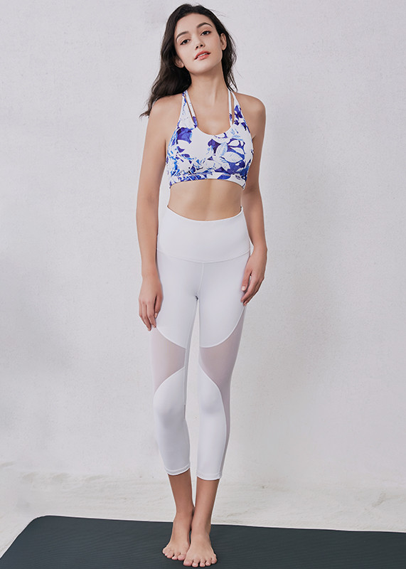 White Gym Athletic sport leggings with mesh  women tights L19007