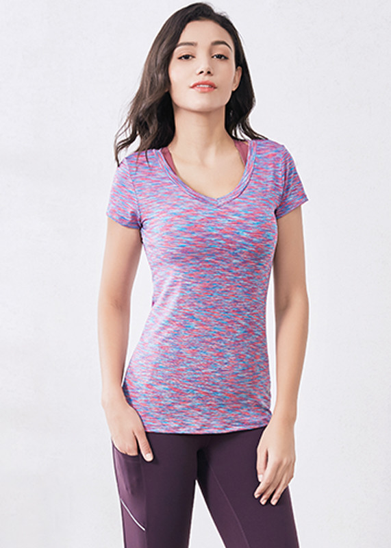 Breathable ladies sportswear Quick Dry fit Spandex Womens'  T shirt TW19008