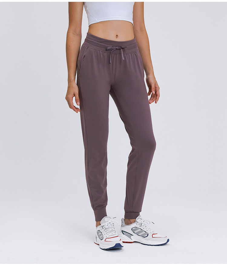 2020 Autumn Winter New Style Lulu Style Quickly Dry High Waist Slim Bound Feet Pants Elastic Running Pants with Pocket L19010