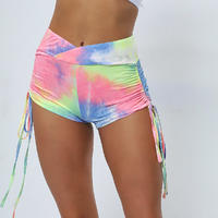 Tie-Dye  Lightweight Stretch Lounge Fashion Fitness Shorts Womens Yoga Shorts